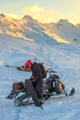 Alaska Backcountry Snowmobile Snowboarding