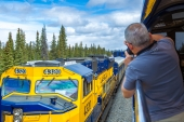 Trains Pass on the Alaska Railroad