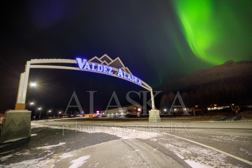 Aurora and the Valdez Alaska Sign