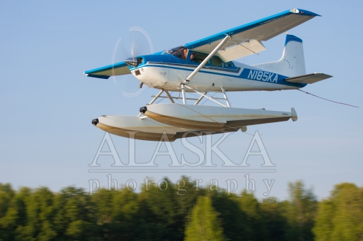 Cessna 185 N185KA Departing Lake Hood