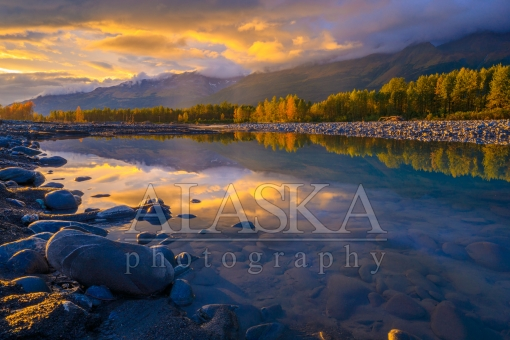 Golden Glow on Valdez Glacier Stream Pool