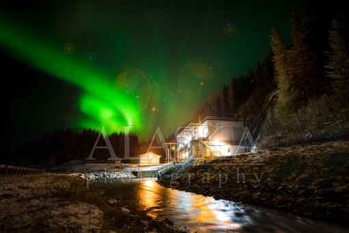 Northern Lights Over the Solomon Gulch Hydro Plant