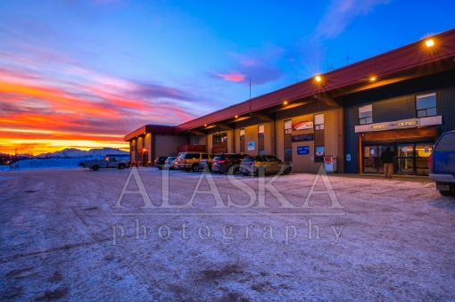 Sunset at Valdez Airport Terminal
